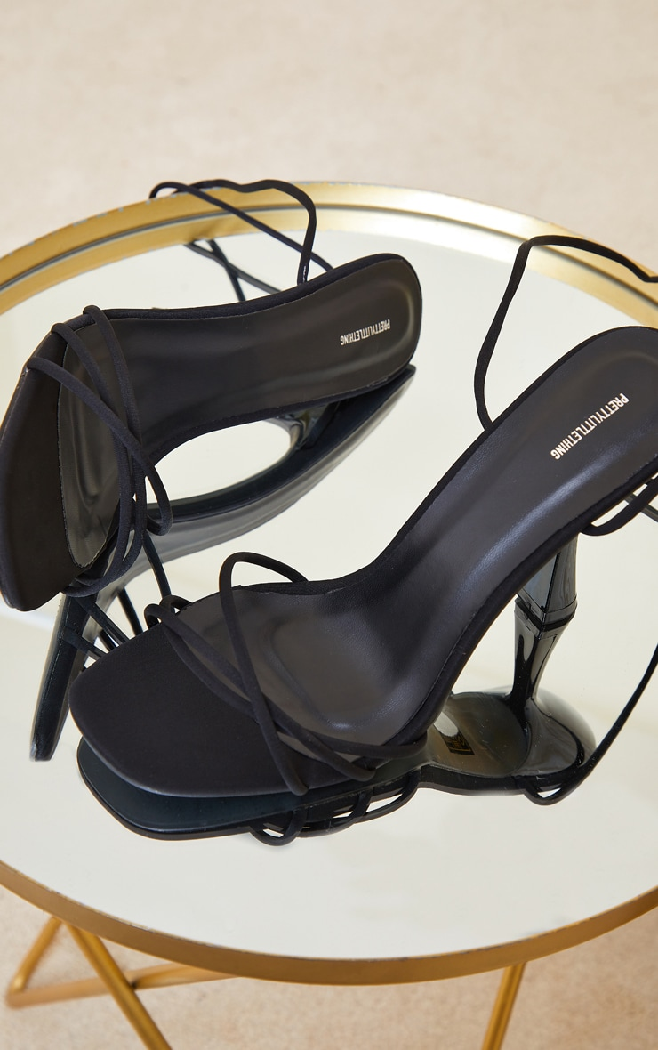Black Lycra Cross Over Lace Up Cake Stand Mid Heels 3