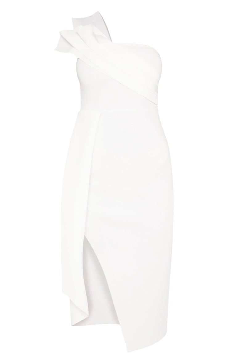 White Bonded Scuba Pleated Draped Midi Dress 3