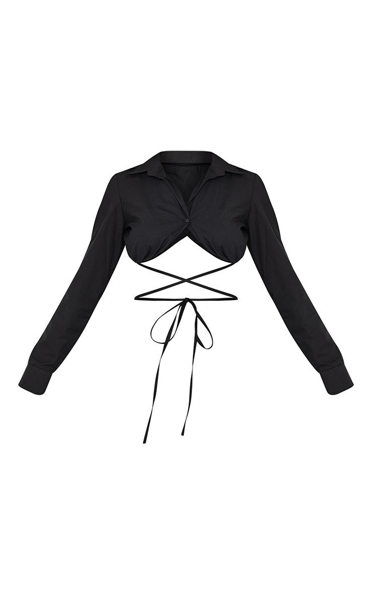 Black Underbust Tie Detail Crop Shirt 5