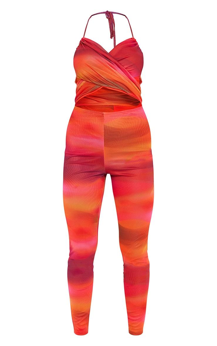 Orange Abstract Print Mesh Cross Front Halterneck Jumpsuit 5