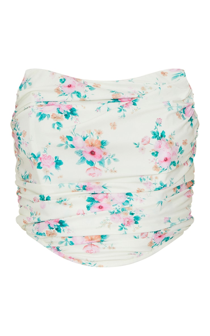 Pink Floral Woven Corset Style Ruched Crop Bandeau 5