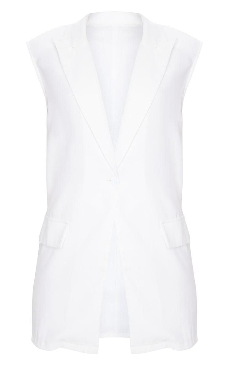 White Woven Longline Sleeveless Blazer 5