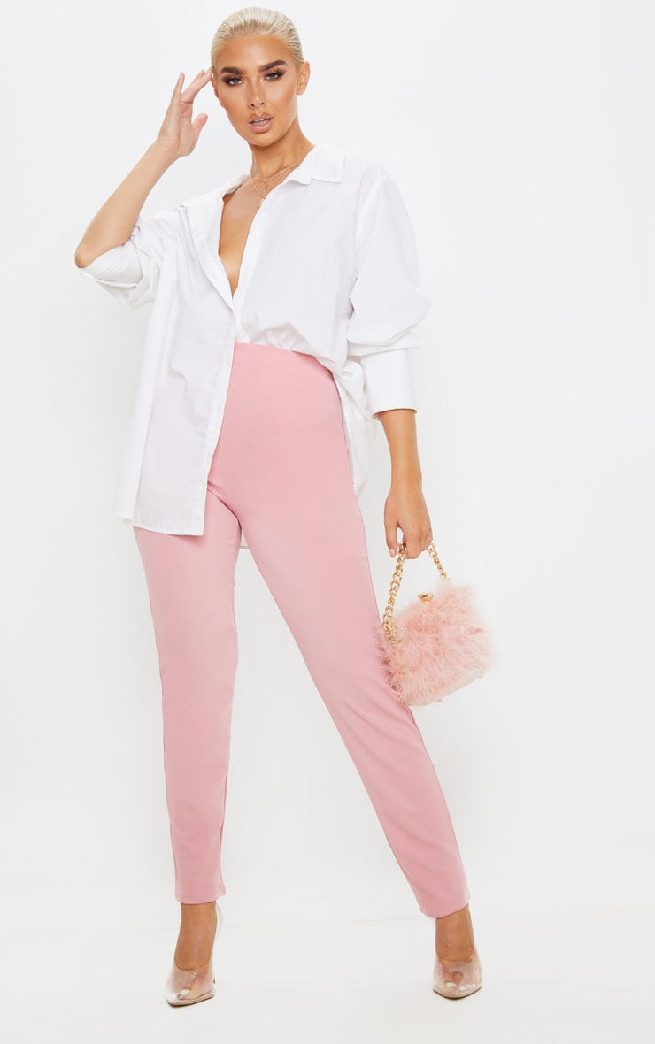 Pastel Pink Slim Leg Crepe Pants 1