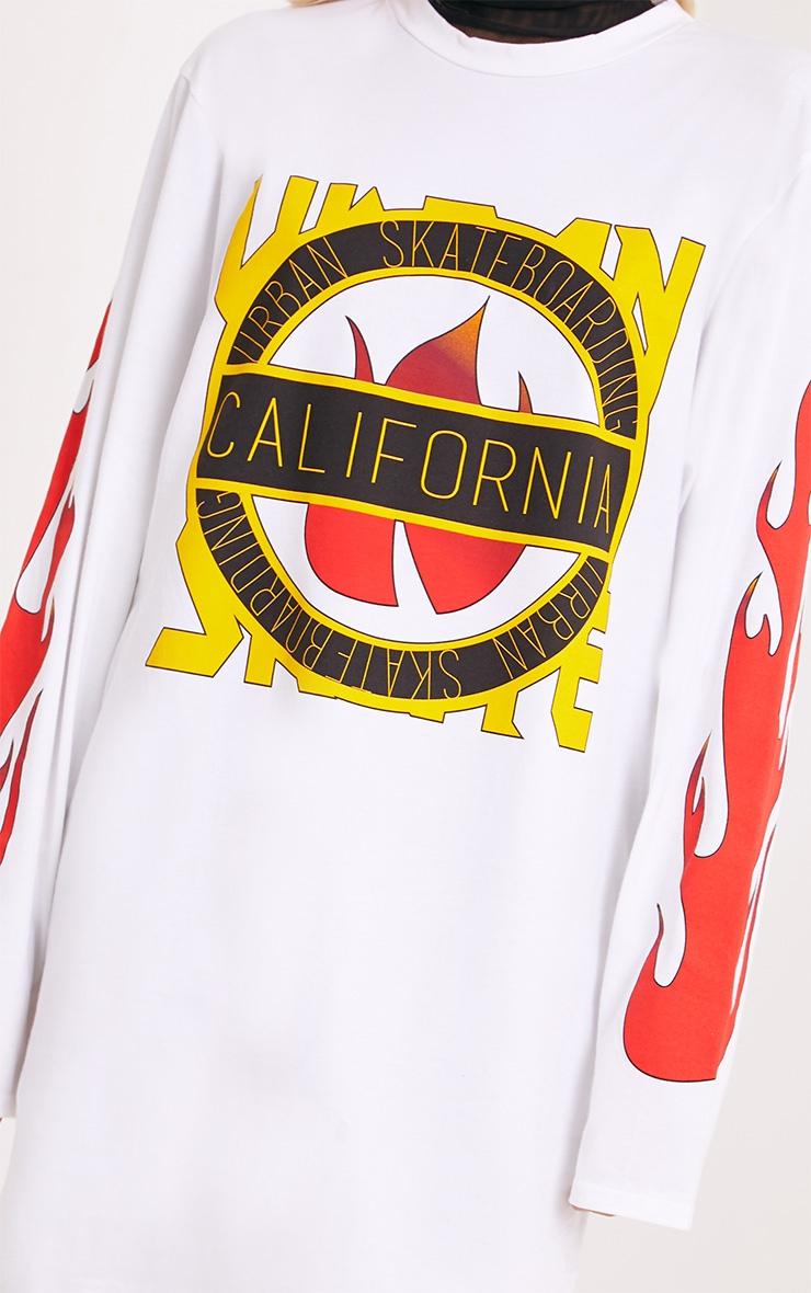 California White Flame Long Sleeve T Shirt Dress 4