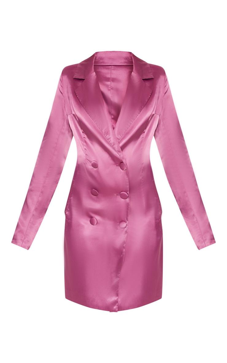 Petite Pink Satin Button Detail Blazer Dress 3