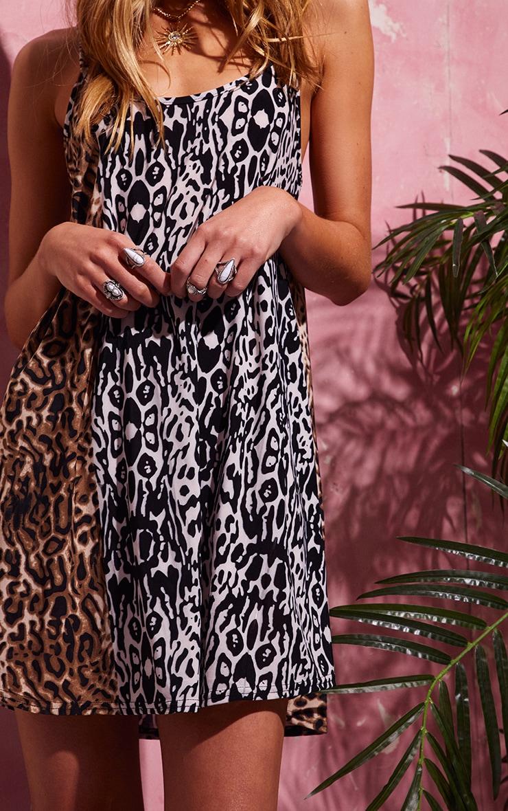 Black Leopard Print Strappy Smock Dress 5