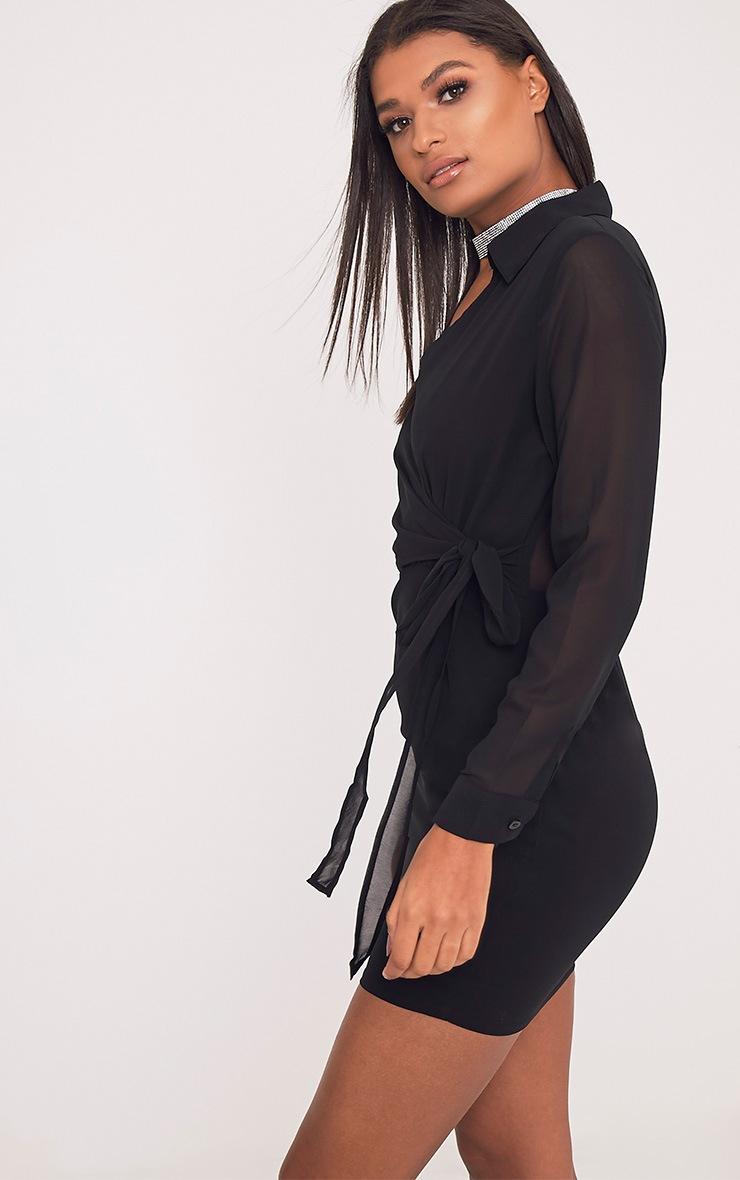 Dory robe droite noire en mousseline à lien à nouer à la taille 4