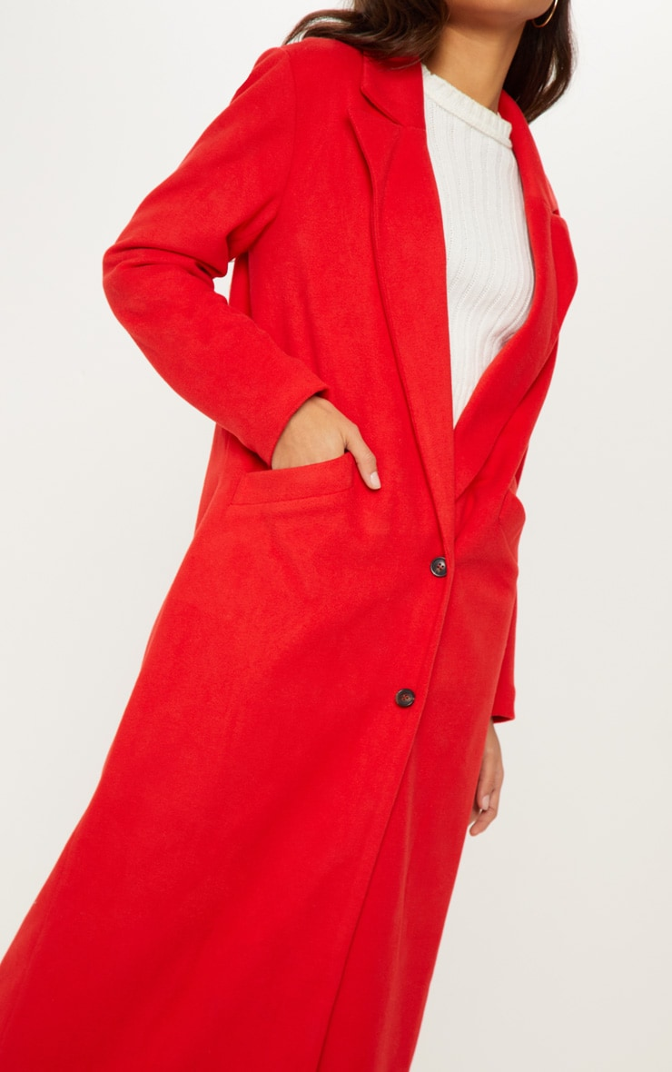 Red Longline Double Breasted Coat  5