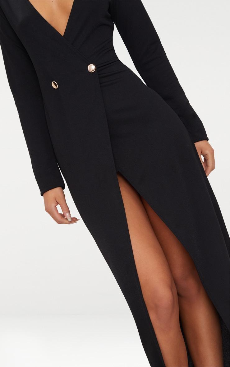 Black Button Detail Blazer Maxi Dress 5