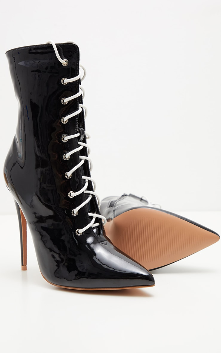 Black Patent Lace Up Ankle Boot 3