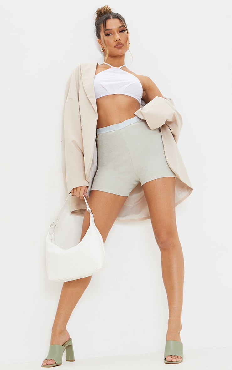 Cream Towelling Halter Cut Out Crop Top 3