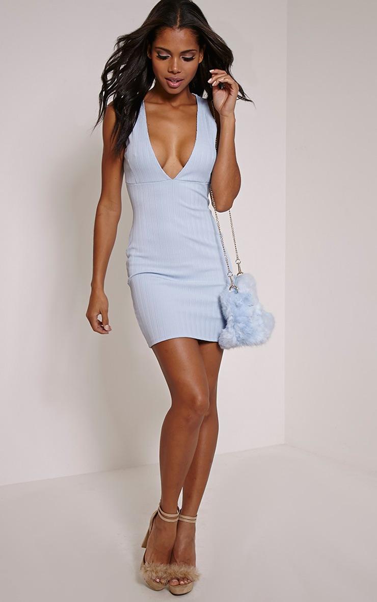 Flavia Pale Blue Ribbed Deep V Mini Dress 4