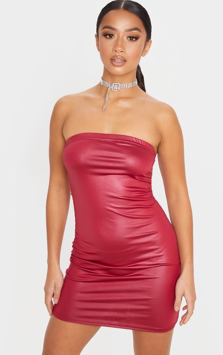 Petite Burgundy Bandeau Wet Look Mini Dress 1