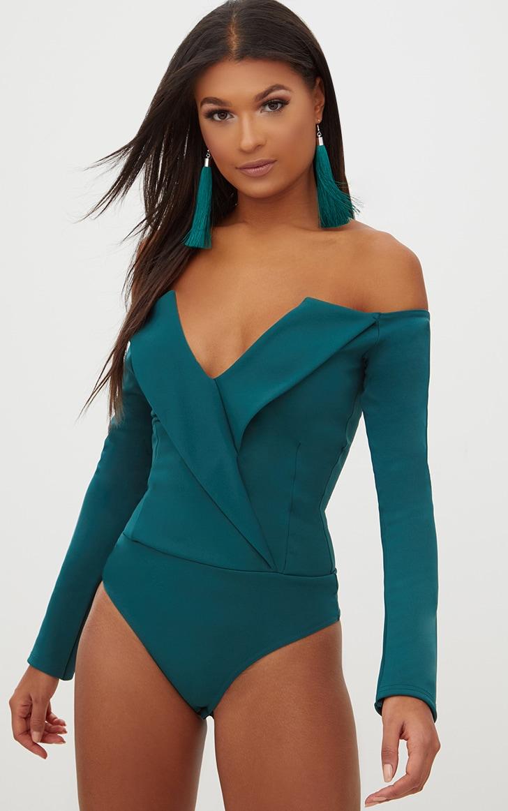 Emerald Green Tux Blazer Detail Bardot Bodysuit  2