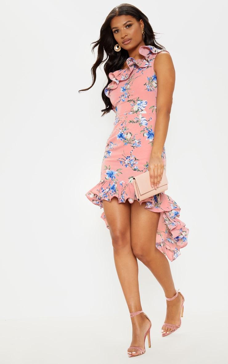 Pink Floral Print One Shoulder Midi Dress 4