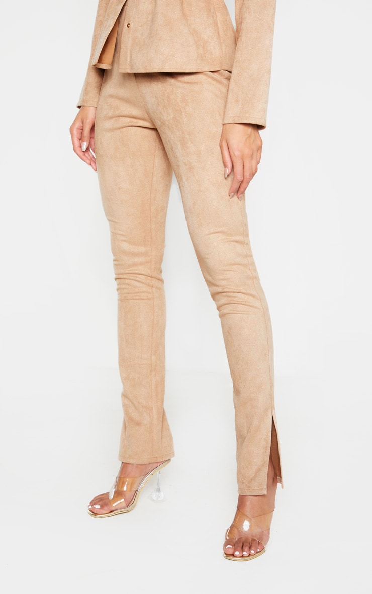 Stone Faux Suede Cigarette Trousers 2