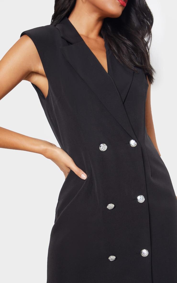 Black Sleeveless Button Detail Bodycon Dress 5