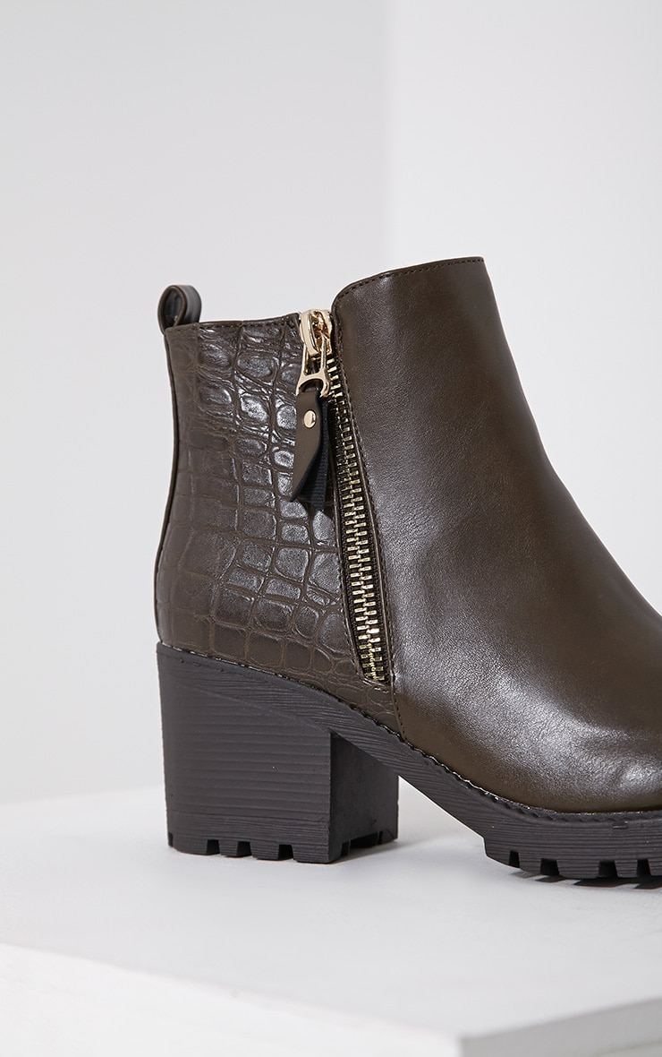 Maddie Taupe Croc Heeled Ankle Boots 6