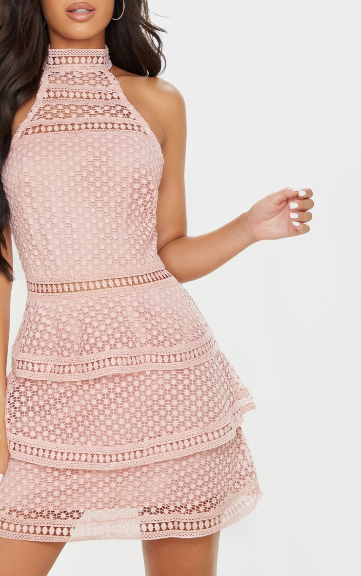 Dusty Pink Lace Panel Tiered Bodycon Dress 5