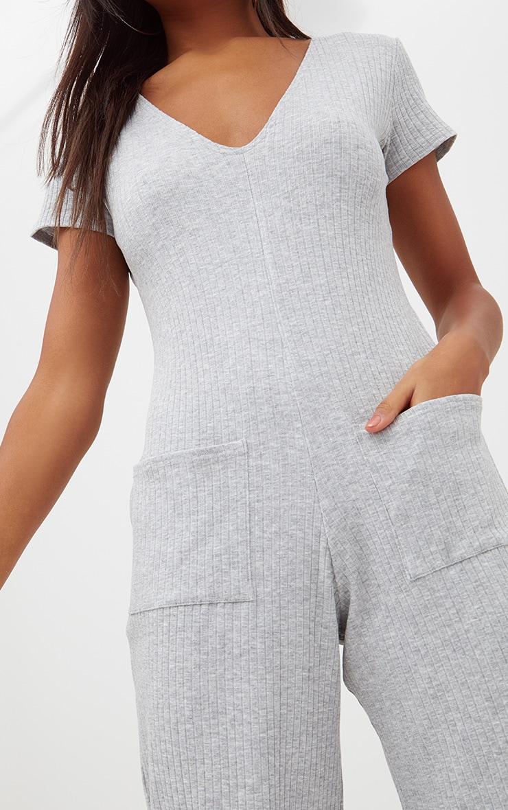 Grey Marl Short Sleeve Ribbed Culottes Pocket Jumpsuit 5