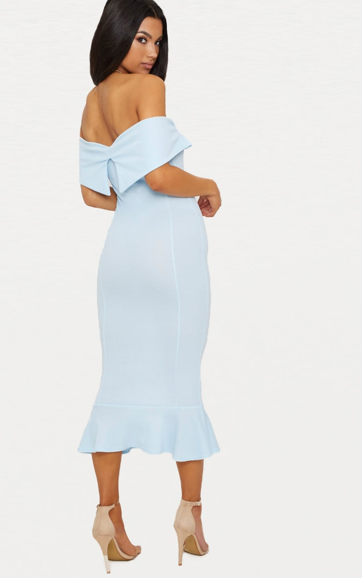 Dusty Blue Bardot Frill Hem Midi Dress 2