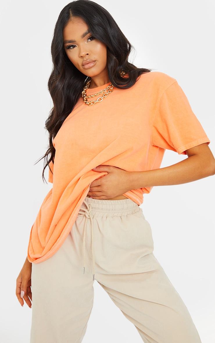Tangerine Washed Oversized T Shirt 1