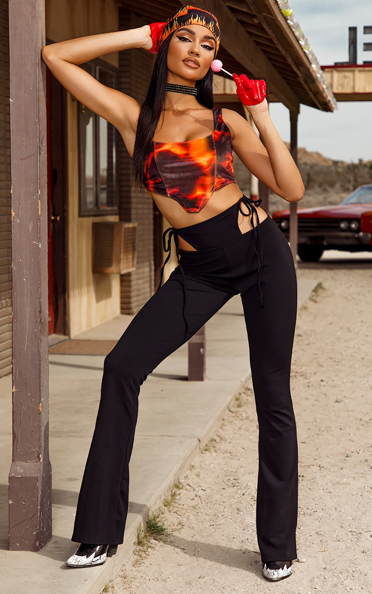 Orange Flame Print Velvet Crop Top 3