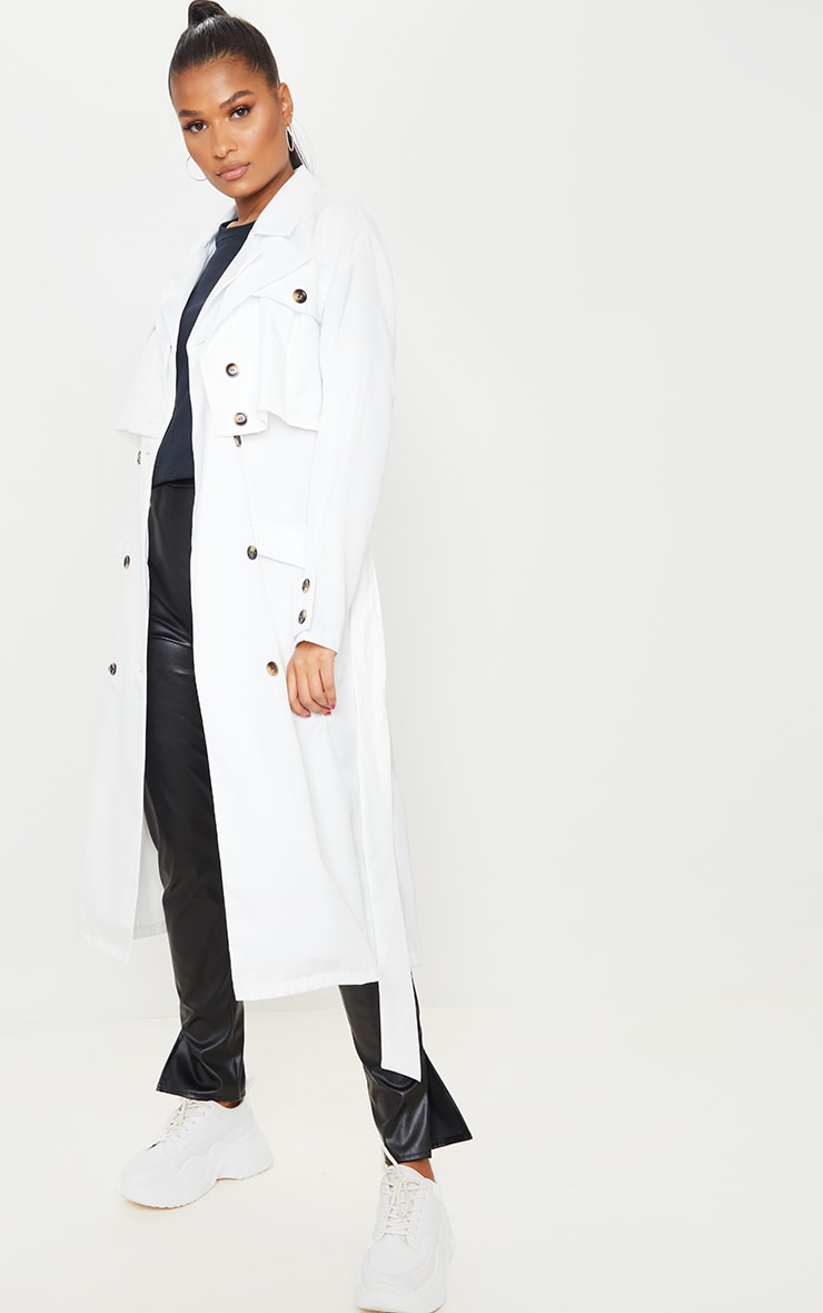 White Oversized Belted Trench Coat 1