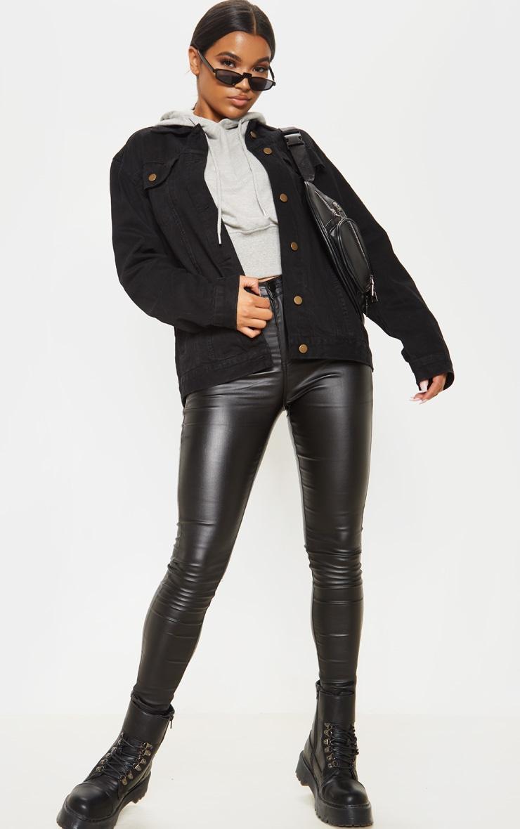Black Oversized Boyfriend Denim Jacket 4