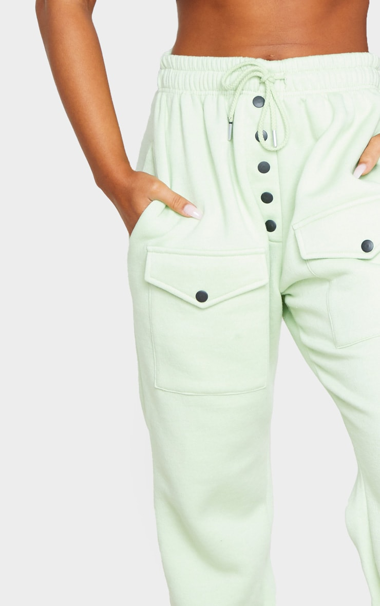 Sage Button Front Pocket Joggers 4
