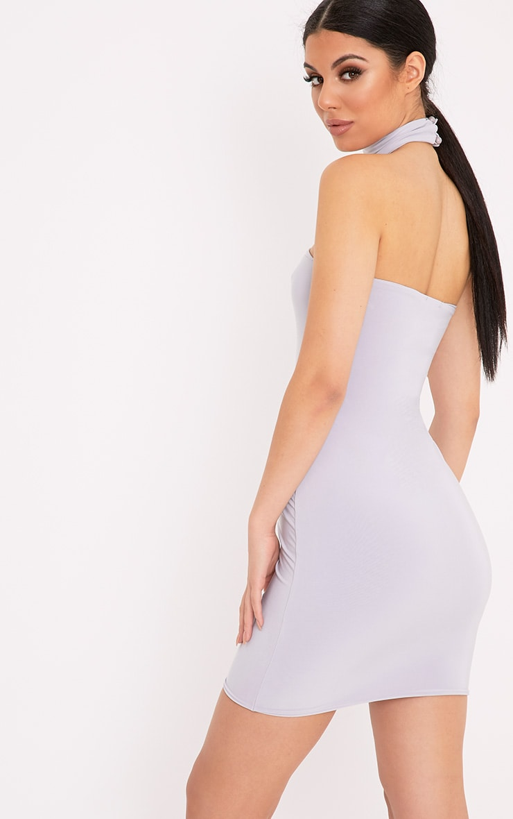 Charlotte Ice Grey Slinky Choker Bandeau Bodycon Dress 2
