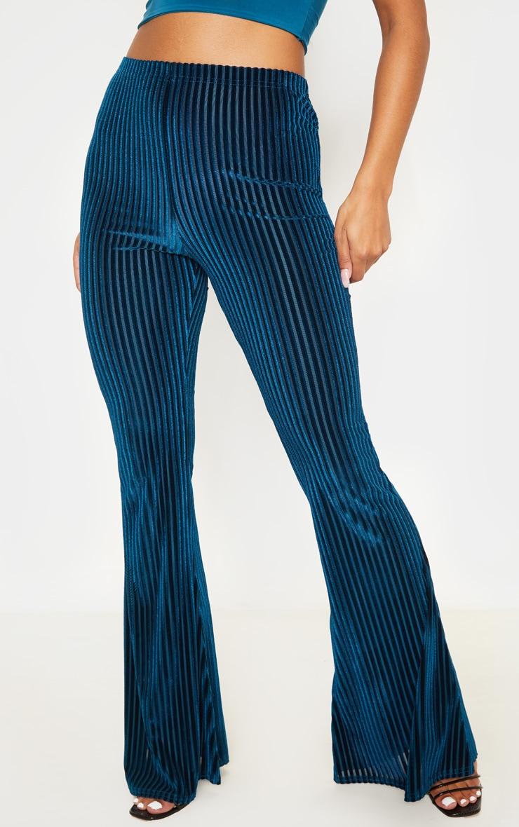 Teal Velvet Striped Flare Pants 2
