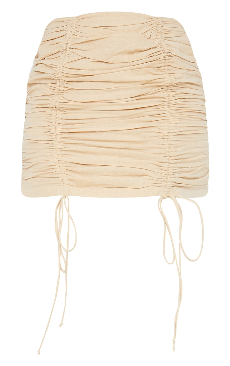 Stone Linen Look Ruched Detailing Mini Skirt 6