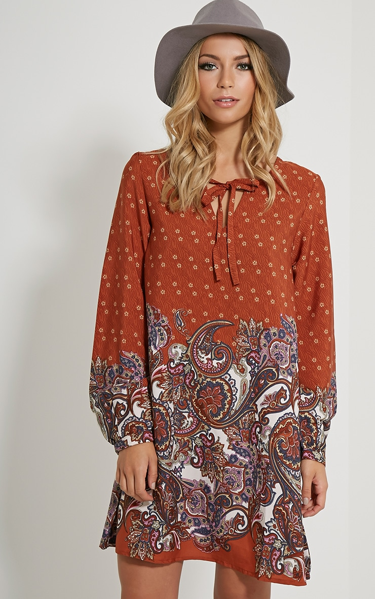 Tamzin Orange Paisley Shift Dress 1