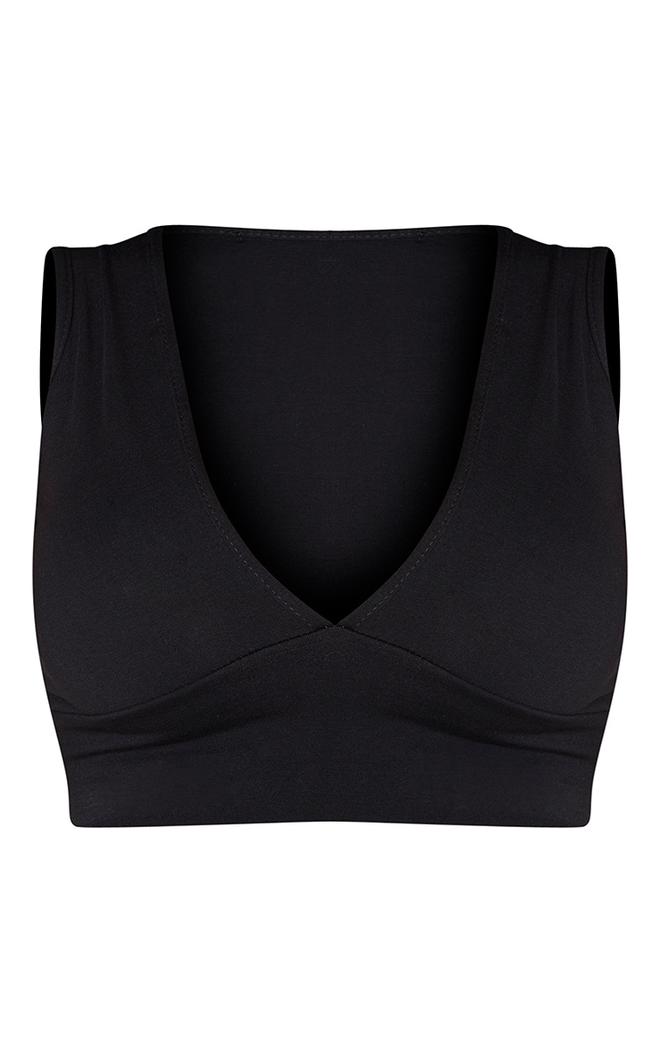 Shape Black Cotton Plunge Crop Top 3