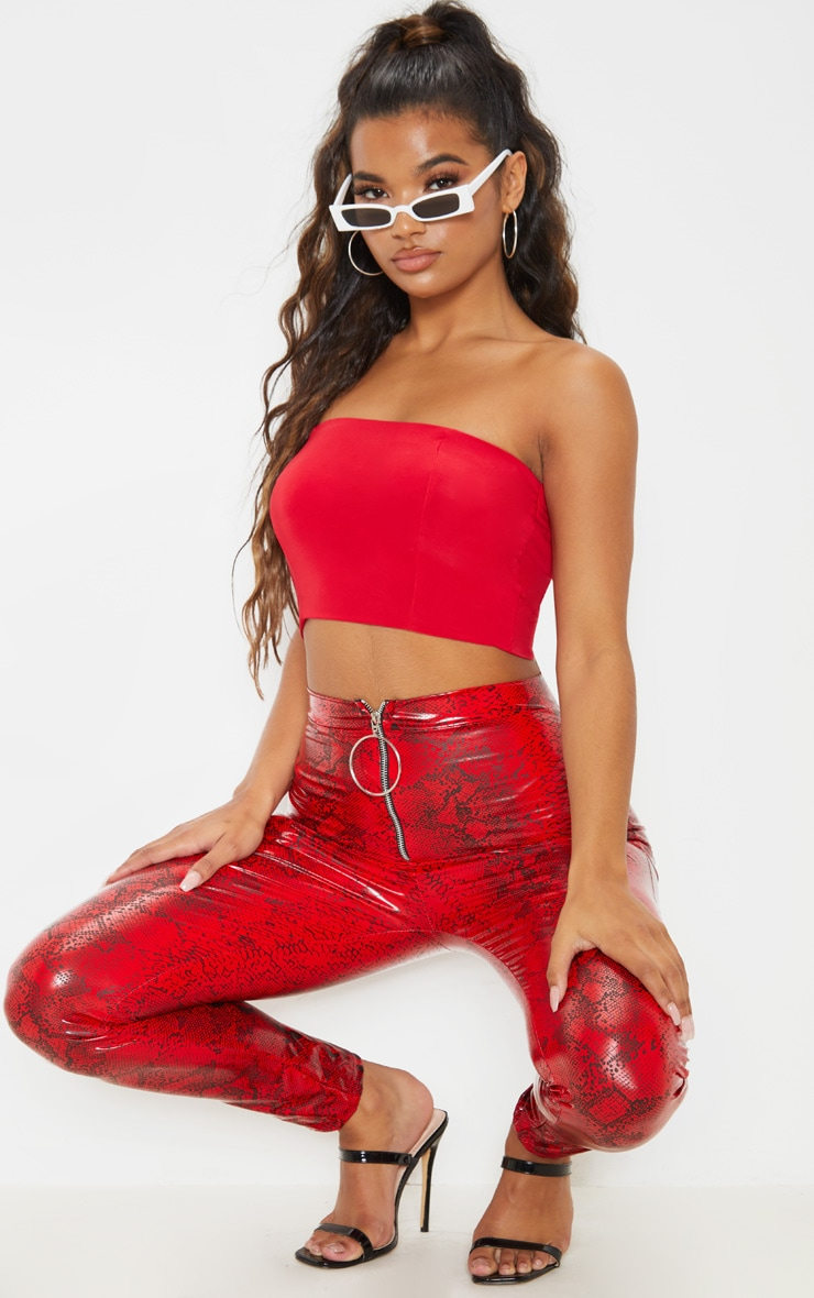 Helsa Red Slinky Bandeau Crop Top 4