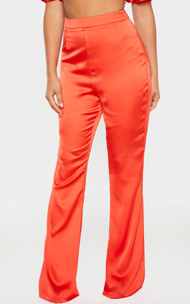 Petite Red Satin Wide Leg Trouser 2