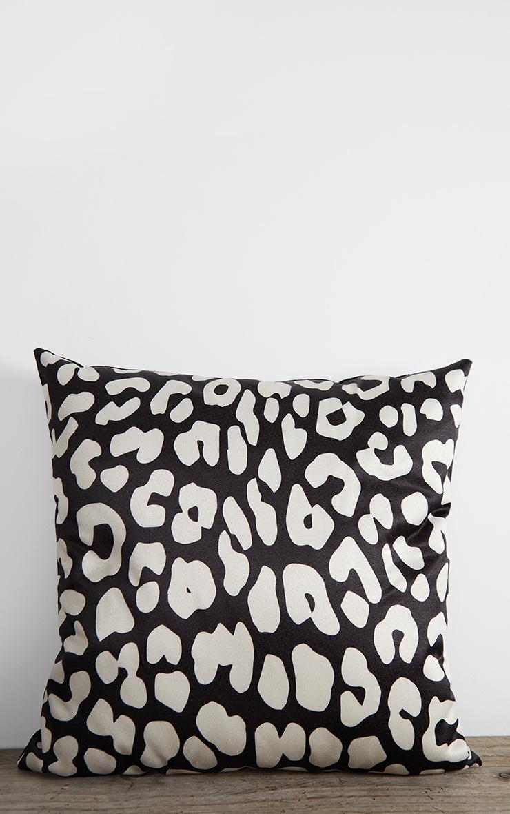Black Satin Leopard Print Filled Cushion 1