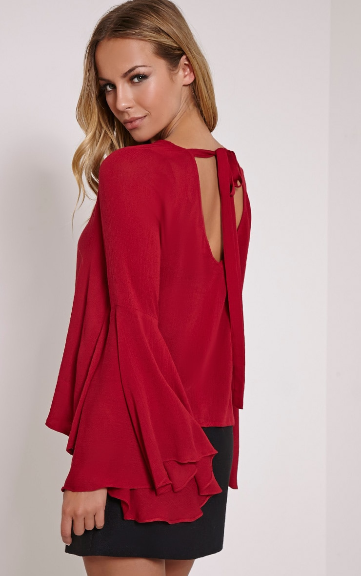 Leesah Berry Flare Sleeve Cut Out Back Top 1
