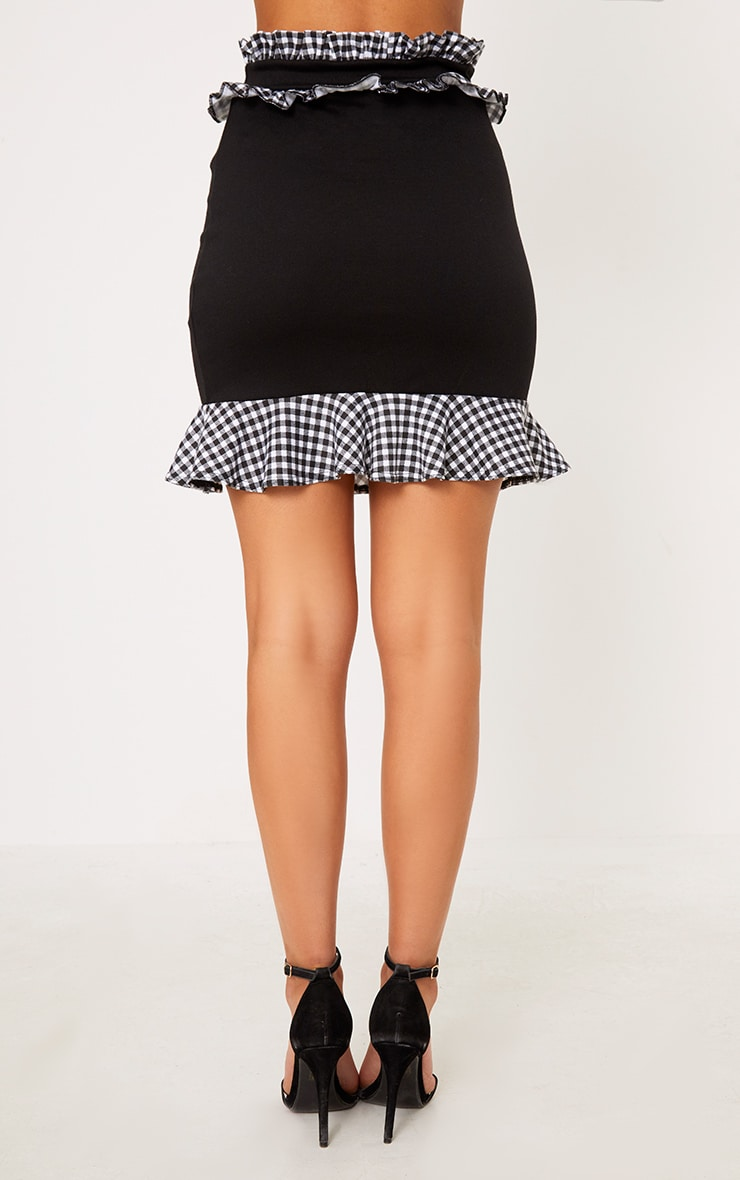 Black Contrast Gingham Frill Trim Mini Skirt 2