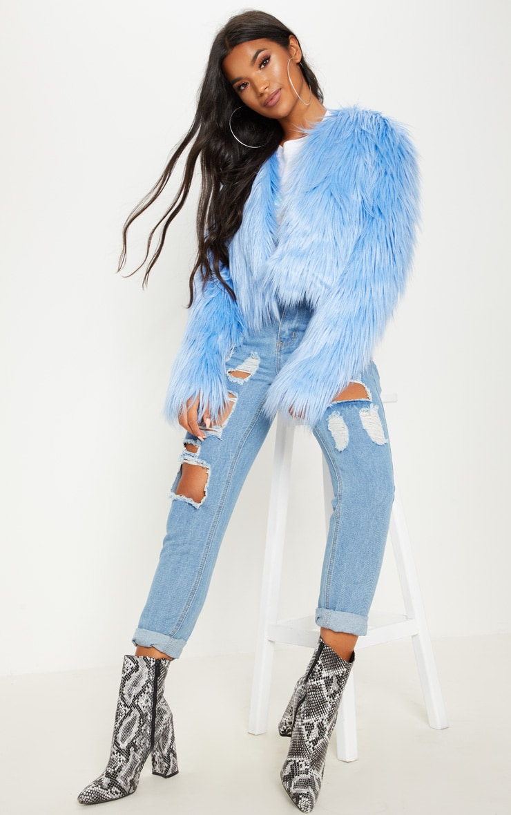 BLUE CROPPED SHAGGY FAUX FUR JACKET
