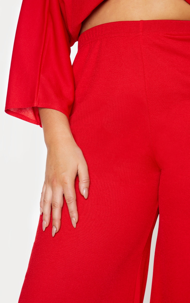 Plus Red Crepe Wide Leg Trouser 5