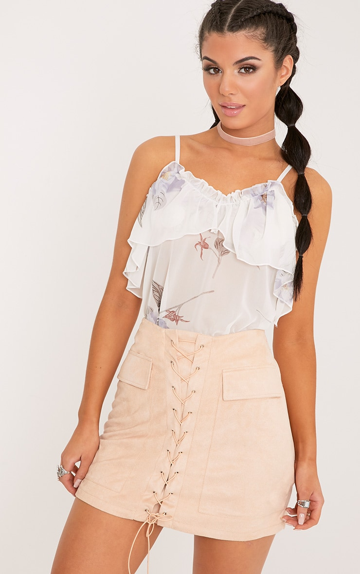 Andee Cream Sheer Ruffle Print Cami Top  1