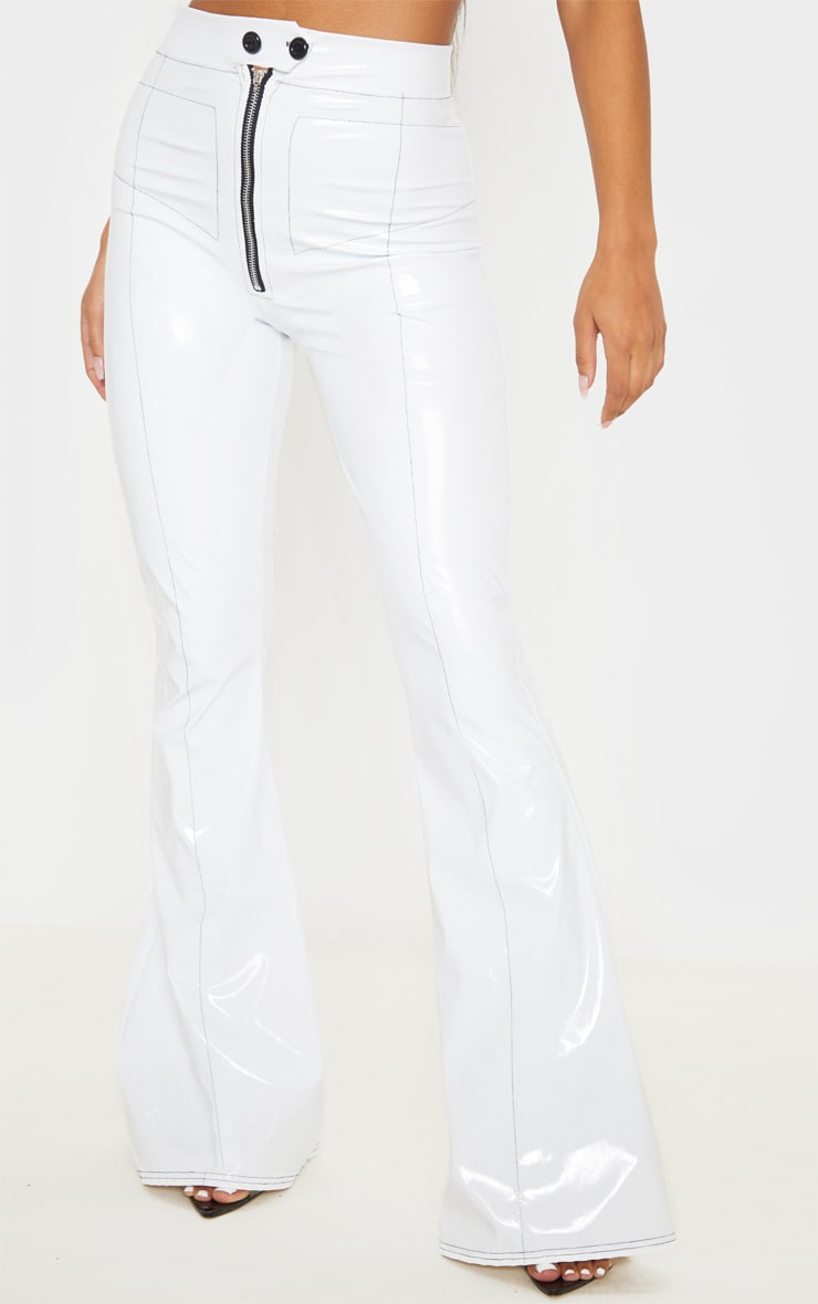 White Vinyl Contrast Stitch Popper Front Flared Pants 2