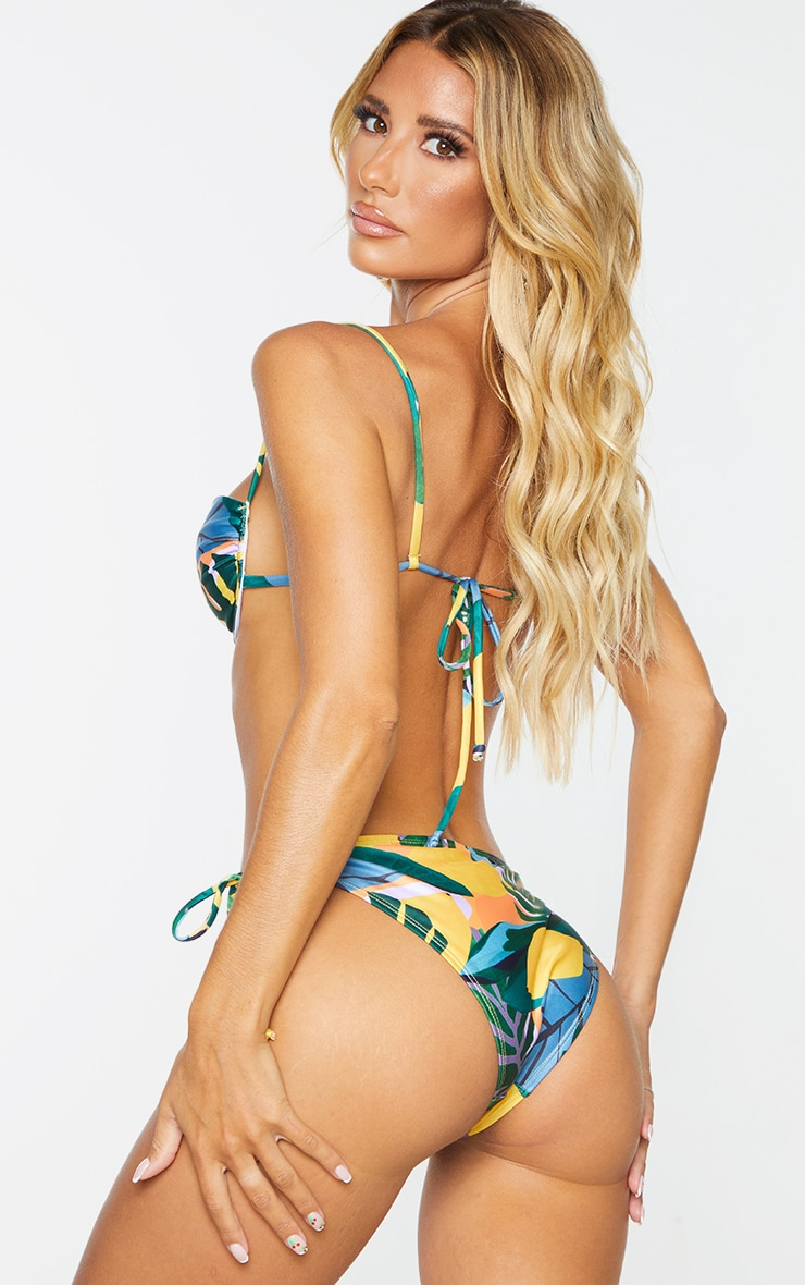 Recycled Yellow Floral Ruched Cup Underwired Bikini Top 2