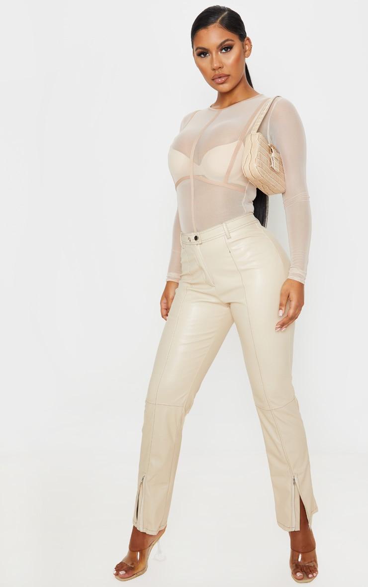 Nude Mesh Binding Detail High Neck Bodysuit 5