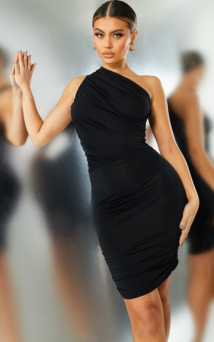 Black Slinky Ruched One Shoulder Bodycon Dress 1