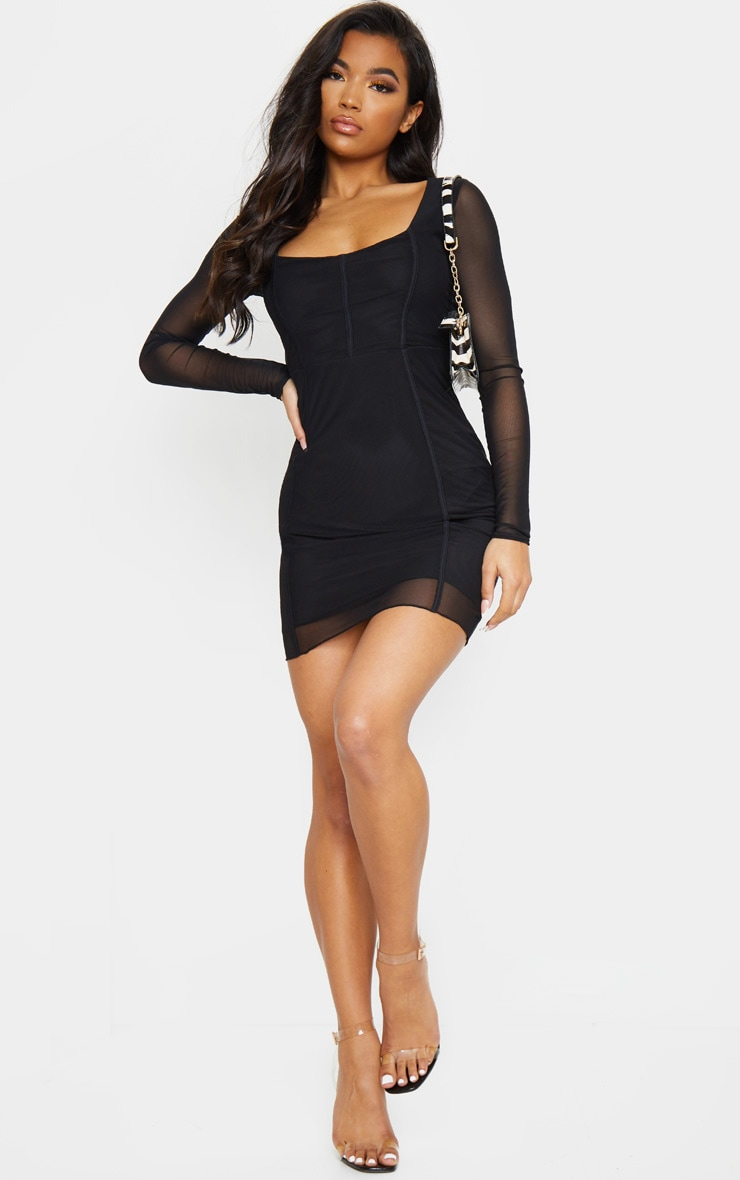 Sheer Mesh Square Neck Binding Detail Bodycon Dress 3