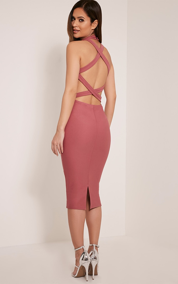 Clara Rose Double Cross Back Midi Dress 1