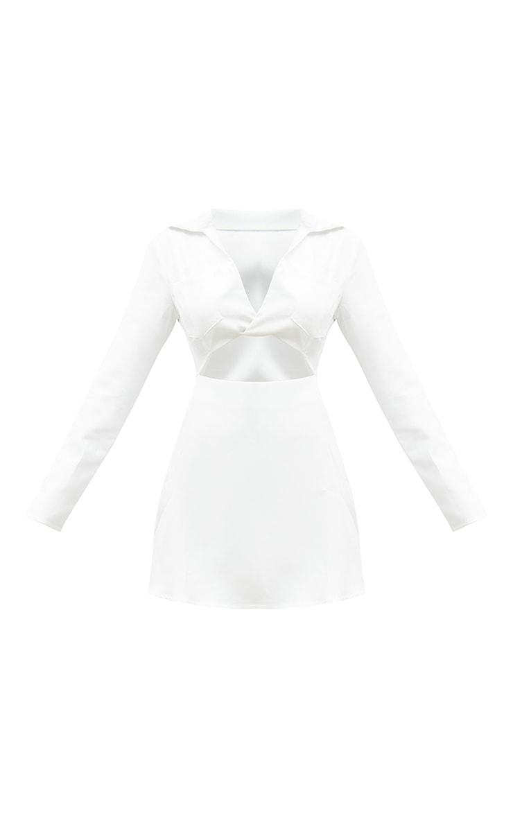 White Cut Out Collar Detail Bodycon Dress 5